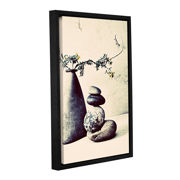 Brushstone Stones And Vase Gallery Wrapped Floater-Framed Canvas Wall Art