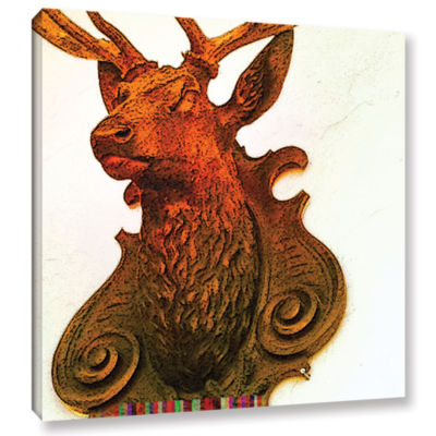 Brushstone Stag (Mounted) Gallery Wrapped Canvas Wall Art