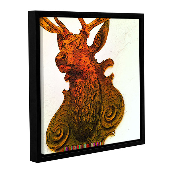 Brushstone Stag (Mounted) Gallery Wrapped Floater-Framed Canvas Wall Art