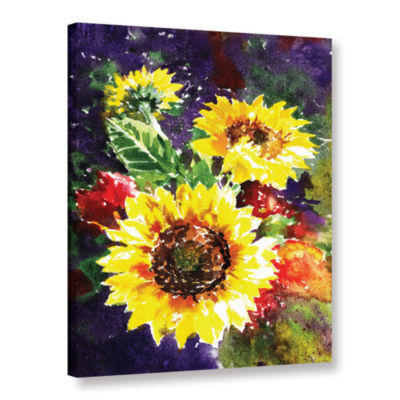 Brushstone Sunflowers 1 Gallery Wrapped Canvas Wall Art