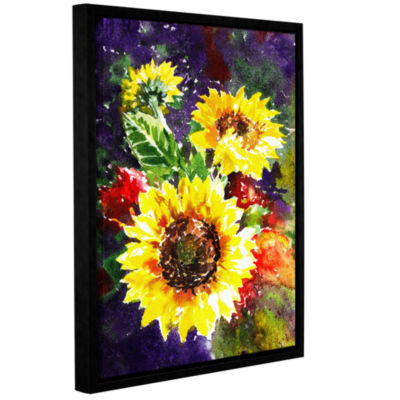 Brushstone Sunflowers 1 Gallery Wrapped Floater-Framed Canvas Wall Art