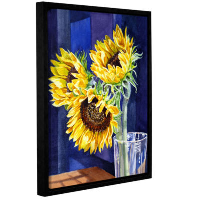 Brushstone Sunflowers 2 Gallery Wrapped Floater-Framed Canvas Wall Art