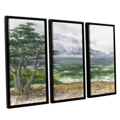 Brushstone Stormy Morning Carmel By The Sea 3-pc.Floater Framed Canvas Wall Art