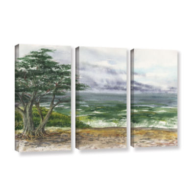 Brushstone Stormy Morning Carmel By The Sea 3-pc.Gallery Wrapped Canvas Wall Art