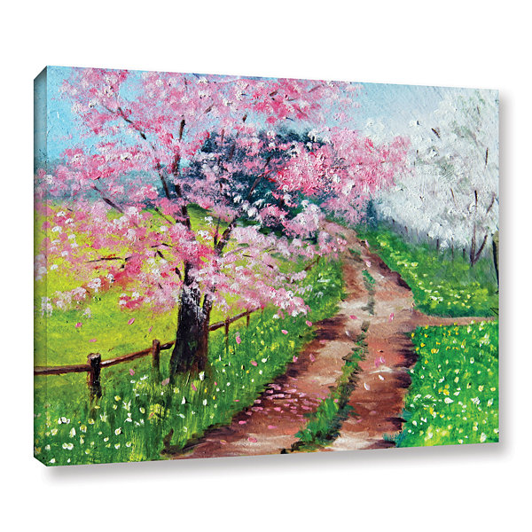 Brushstone Springtime Road Gallery Wrapped CanvasWall Art