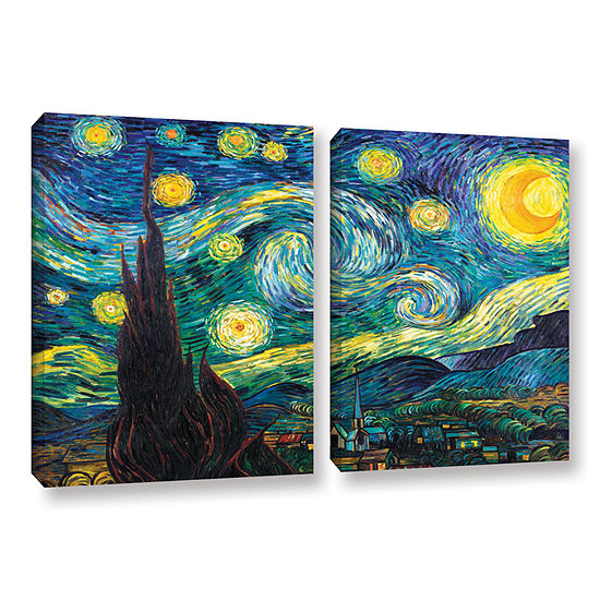 Brushstone Starry Night 2-pc. Gallery Wrapped Canvas Wall Art