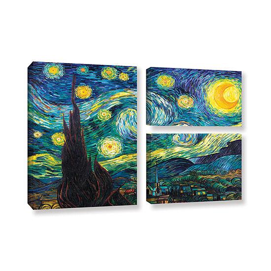 Brushstone Starry Night 3-pc. Flag Gallery WrappedCanvas Wall Art