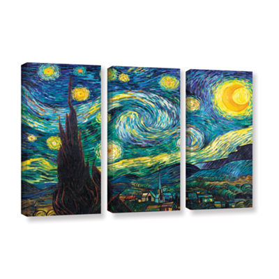 Brushstone Starry Night 3-pc. Gallery Wrapped Canvas Wall Art