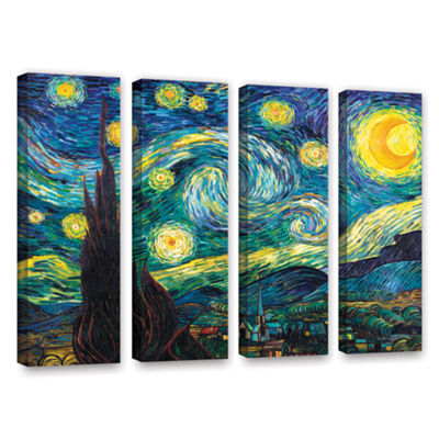 Brushstone Starry Night 4-pc. Gallery Wrapped Canvas Wall Art