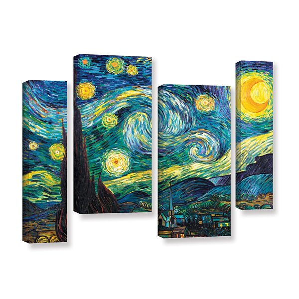 Brushstone Starry Night 4-pc. Gallery Wrapped Staggered Canvas Wall Art