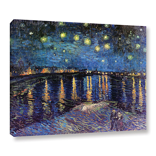 Brushstone Starry Night Over the Rhone (007) Gallery Wrapped Canvas Wall Art