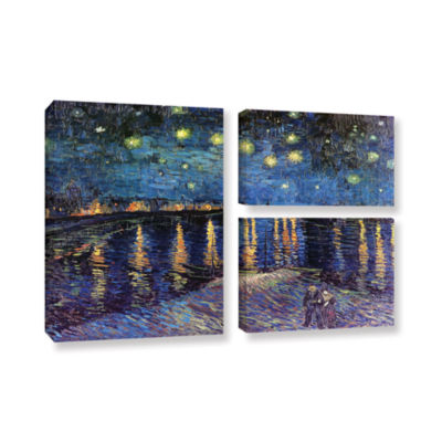 Brushstone Starry Night Over the Rhone (008) 3-pc.Flag Gallery Wrapped Canvas Wall Art