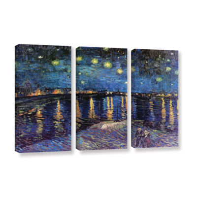 Brushstone Starry Night Over the Rhone (008) 3-pc.Gallery Wrapped Canvas Wall Art