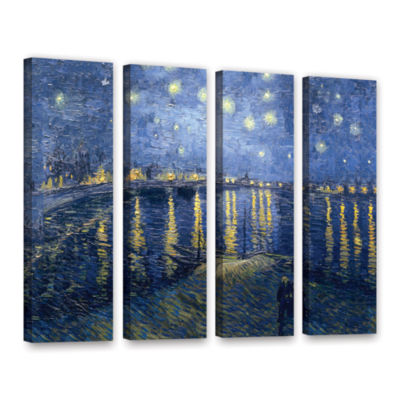 Brushstone Starry Night Over the Rhone (008) 4-pc.Gallery Wrapped Canvas Wall Art