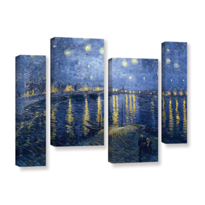 Brushstone Starry Night Over the Rhone (008) 4-pc.Gallery Wrapped Staggered Canvas Wall Art