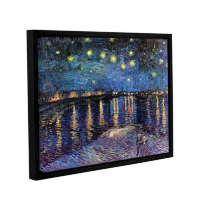 Brushstone Starry Night Over the Rhone (008) Gallery Wrapped Floater-Framed Canvas Wall Art