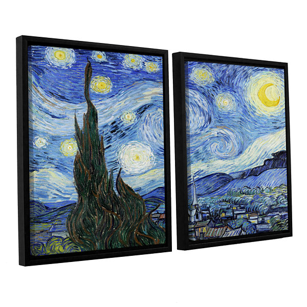 Brushstone Starry Night (Lighter version) 2-pc. Floater Framed Canvas Wall Art