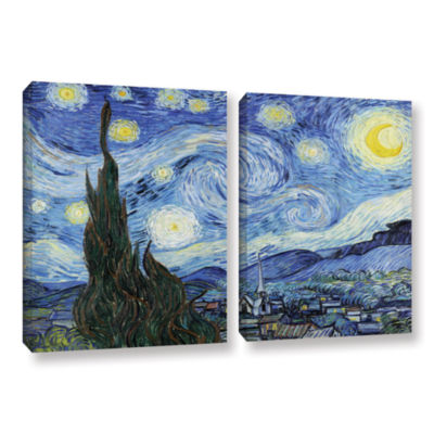 Brushstone Starry Night (Lighter version) 2-pc. Gallery Wrapped Canvas Wall Art