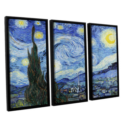 Brushstone Starry Night (Lighter version) 3-pc. Floater Framed Canvas Wall Art