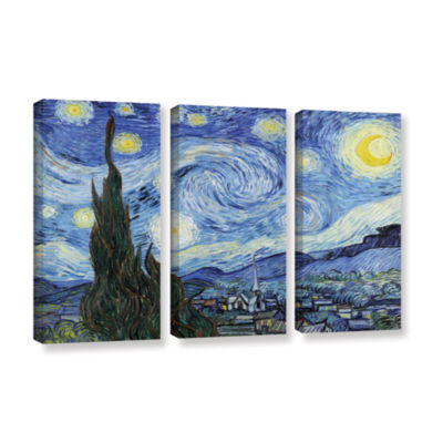 Brushstone Starry Night (Lighter version) 3-pc. Gallery Wrapped Canvas Wall Art
