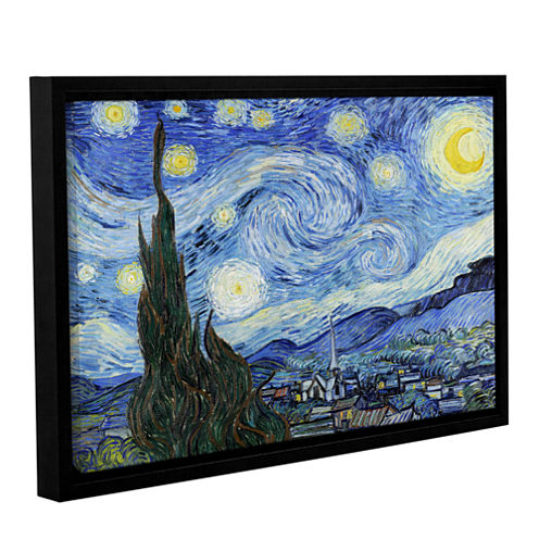 Brushstone Starry Night (Lighter version) GalleryWrapped Floater-Framed Canvas Wall Art