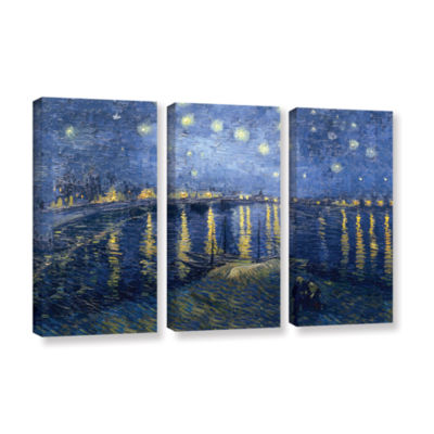 Brushstone Starry Night Over the Rhone (lighter version) 3-pc. Gallery Wrapped Canvas Wall Art
