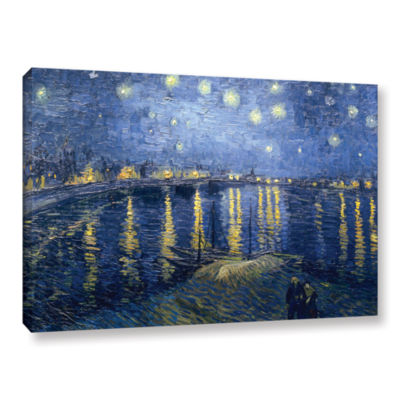 Brushstone Starry Night Over the Rhone (lighter version) Gallery Wrapped Canvas Wall Art