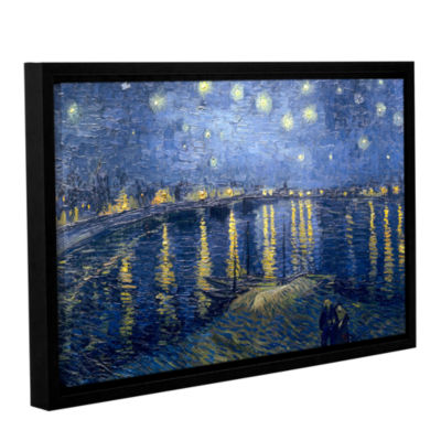 Brushstone Starry Night Over the Rhone (lighter version) Gallery Wrapped Floater-Framed Canvas WallArt