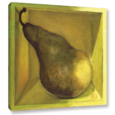 Brushstone Square Pear Gallery Wrapped Canvas WallArt