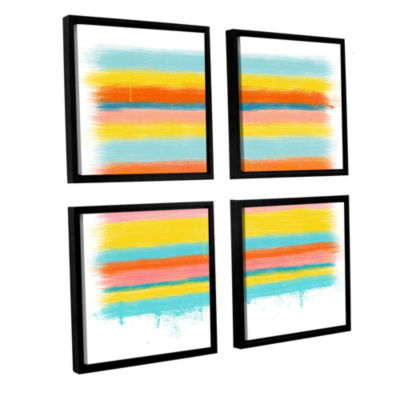 Brushstone Stripes 4-pc. Square Floater Framed Canvas Wall Art