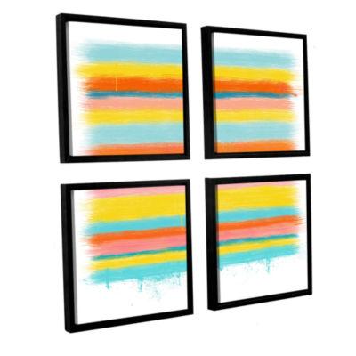 Brushstone Stripes 4-pc. Square Floater Framed Canvas Wall Art