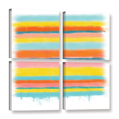 Brushstone Stripes 4-pc. Square Gallery Wrapped Canvas Wall Art