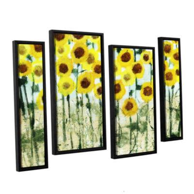 Brushstone Sundrops 4-pc. Floater Framed StaggeredCanvas Wall Art