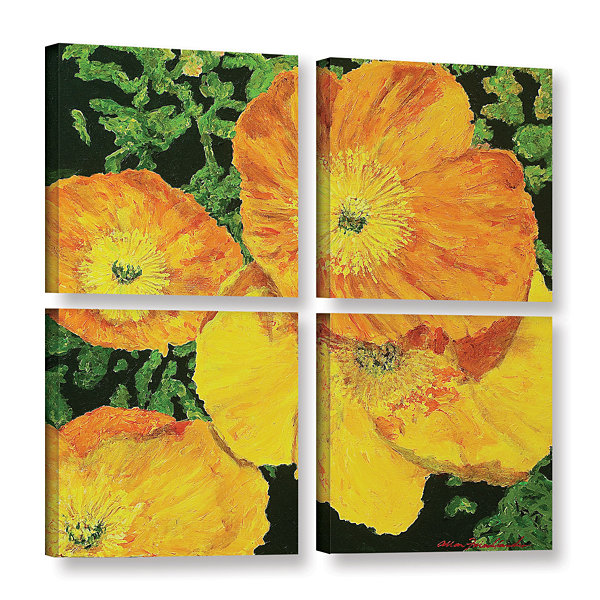 Brushstone Blazing Glory 4-pc. Square Gallery Wrapped CanvasWall Art