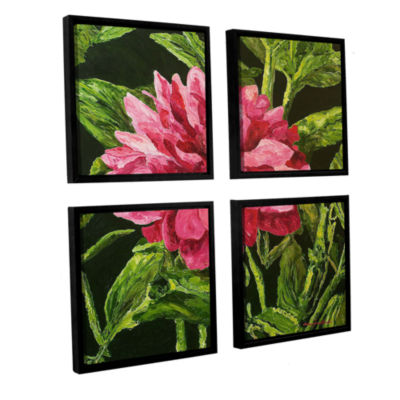 Brushstone Bloom 4-pc. Square Floater Framed Canvas Wall Art