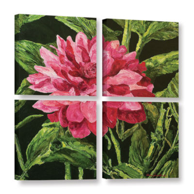 Brushstone Bloom 4-pc. Square Gallery Wrapped Canvas Wall Art
