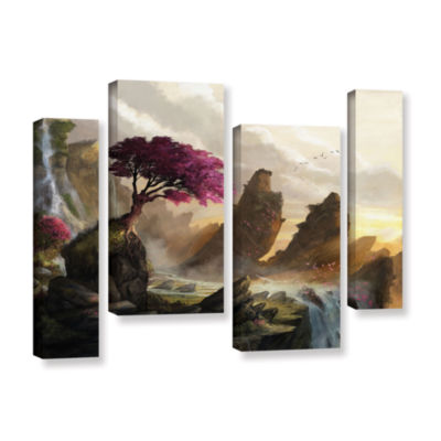 Brushstone Blossom Sunset 4-pc. Gallery Wrapped Staggered Canvas Wall Art
