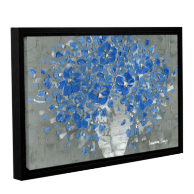 Blue Bouquet Gallery Wrapped Floater-Framed CanvasWall Art