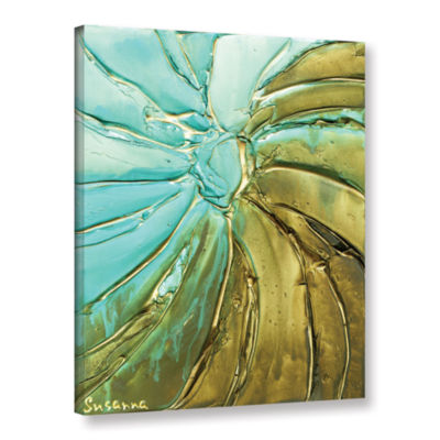 Blue Gold Swirl Gallery Wrapped Canvas Wall Art