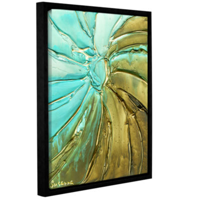Blue Gold Swirl Gallery Wrapped Floater-Framed Canvas Wall Art