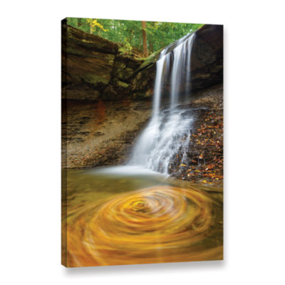 Blue Hen Falls Swirling Leaves Gallery Wrapped Canvas Wall Art