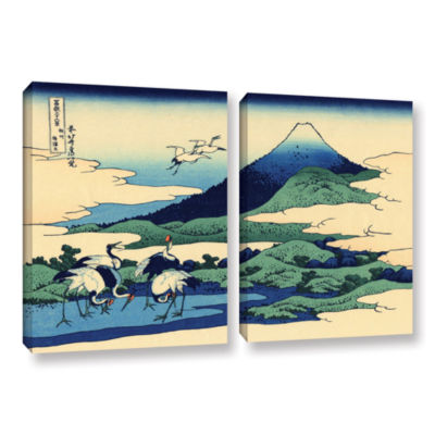 Blue Mt. Fuji At Dawn Near Oiso 2-pc. Gallery Wrapped Canvas Wall Art