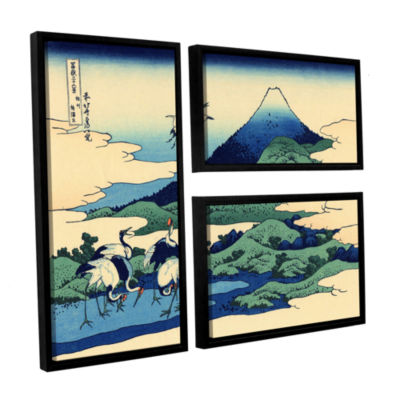 Blue Mt. Fuji At Dawn Near Oiso 3-pc. Flag Floater Framed Canvas Wall Art