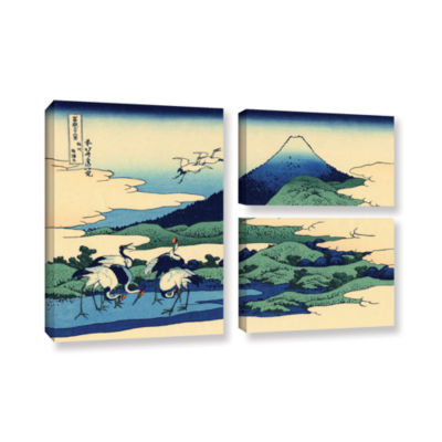 Blue Mt. Fuji At Dawn Near Oiso 3-pc. Flag GalleryWrapped Canvas Wall Art