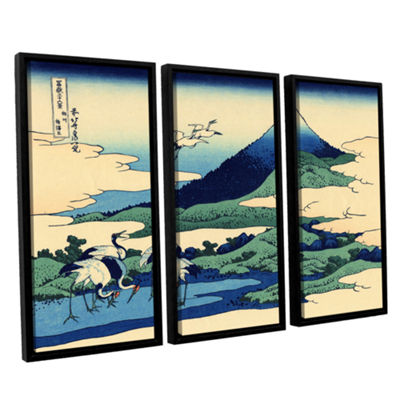 Blue Mt. Fuji At Dawn Near Oiso 3-pc. Floater Framed Canvas Wall Art