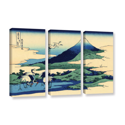 Blue Mt. Fuji At Dawn Near Oiso 3-pc. Gallery Wrapped Canvas Wall Art