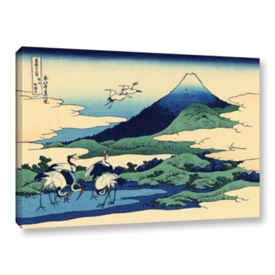 Blue Mt. Fuji At Dawn Near Oiso Gallery Wrapped Canvas Wall Art