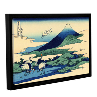 Blue Mt. Fuji At Dawn Near Oiso Gallery Wrapped Floater-Framed Canvas Wall Art