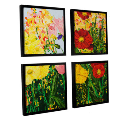 Blue Skies And Sunshine 4-pc. Square Floater Framed Canvas Wall Art