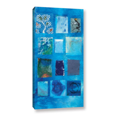Blue Tree Collage Gallery Wrapped Canvas Wall Art